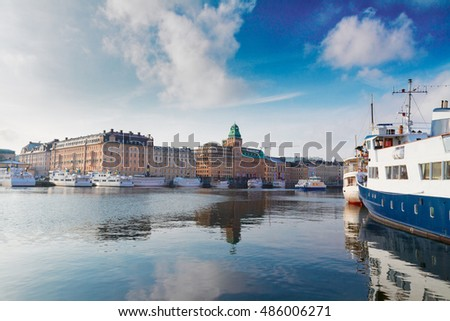 Scenic waterfrontand embankment panorama of the Old Town in Stockholm, Sweden