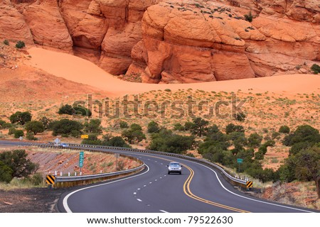 Scenic winding drive through the desert in Arizona - stock photo