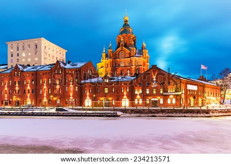 Scenic winter view of Katajanokka district with Uspenski Orthodox Cathedral Church in the Old Town of Helsinki, Finland - stock photo