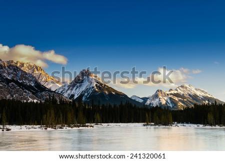 Scenic winter views of the Rocky Mountains, Peter Lougheed Provincial Park, Kananaskis Country Alberta Canada - stock photo