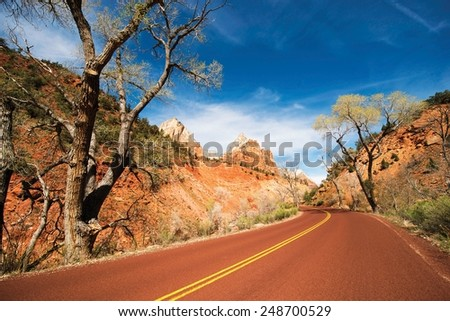 Scenic Zion Road. Zion National Park in Utah, United States. Zion Trip. - stock photo