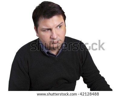 Sceptically looking man - with space for text or slogan - stock photo