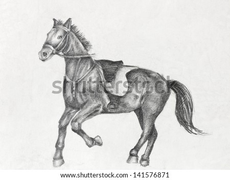 Scetch of a running horse, pencil drawing on white paper artist at age of 15. - stock photo