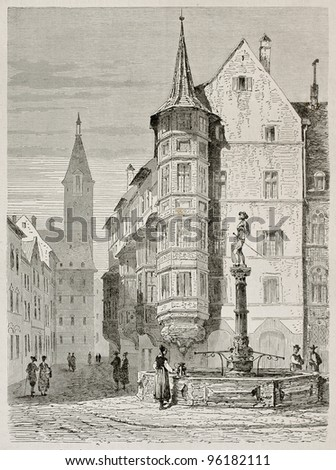 Schaffhausen market place old view, German Switzerland. Created by Stroobant, published on Le Tour Du Monde, Paris, 1867 - stock photo