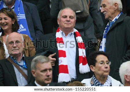 SCHALKE, GERMANY - SEP 21: Chairman Uli Hoeness? (FC Bayern Munich) during a Bundesliga match between FC Schalke 04 & FC Bayern Munich, final score 0-4, on September 21, 2013, in Schalke, Germany. - stock photo
