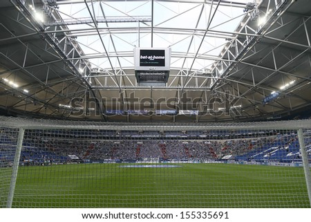 SCHALKE, GERMANY - SEP 21: Veltins Arena befor a Bundesliga match between FC Schalke 04 & FC Bayern Munich, final score 0-4, on September 21, 2013, in Schalke, Germany. - stock photo