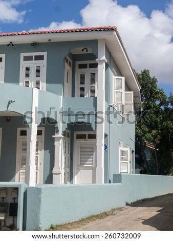 Scharloo district  with old houses Curacao a tropical island in the Caribbean - Netherland Antilles - stock photo