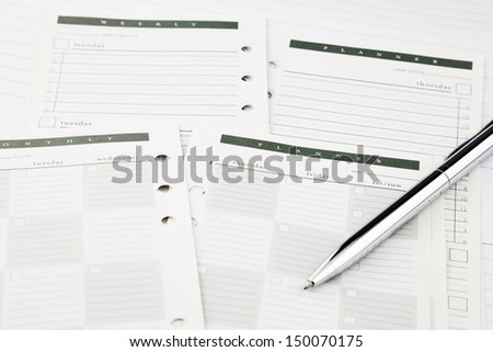 schedule and planner for planning business project - stock photo