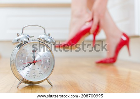 Schedule of the day. Woman goes to work.  - stock photo