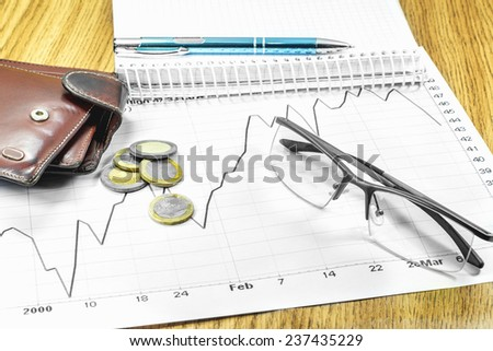schedule purse handle coins notebook glasses - stock photo