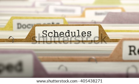 Schedules - Folder Register Name in Directory. Colored, Blurred Image. Closeup View. 3D Render.