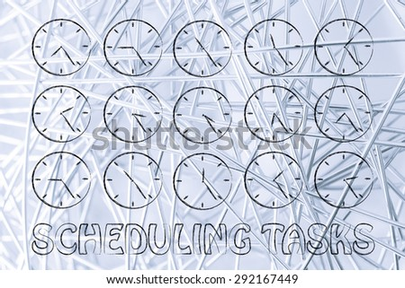 scheduling tasks through time: series of clocks showing the hours of the day passing by - stock photo