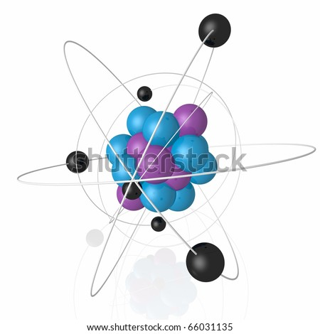schematic atomic structure of the spheres and rings - stock photo