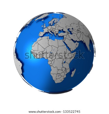 Schematic Earth with accurate country boundaries, isolated on white. Elements of this image furnished by NASA. Other orientations available. - stock photo