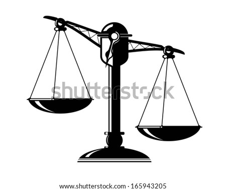schematic illustration of an old scale with weighing pans - stock photo