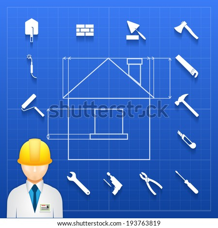 Schematic infogram of a home under construction with an architect  engineer or builder in a hardhat and a variety of hand tools icons arranged as a border - stock photo