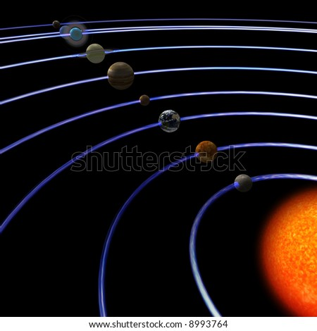 schematical image of the solar system.  With Clipping Path - stock photo