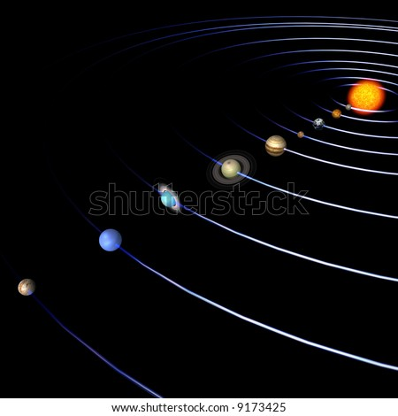 schematical image of the solar system.  With Clipping Path