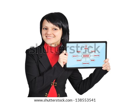 Scheme business strategy on touch pad in hands - stock photo