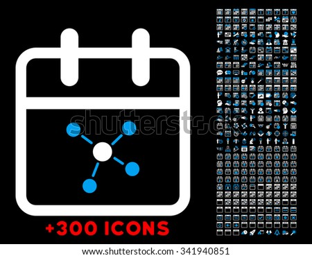 Scheme Day glyph icon with additional 300 date and time management pictograms. Style is bicolor flat symbols, blue and white colors, rounded angles, black background. - stock photo