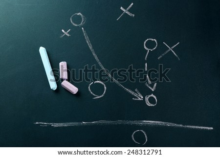 Scheme football game on blackboard background - stock photo