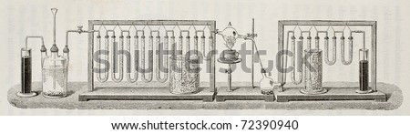 Scheme for experimental determination of water composition in weight, according to J. B. Dumas method. Created by Javandier and Hildebrand, published on L'Eau, by G. Tissandier, Hachette, Paris, 1873 - stock photo