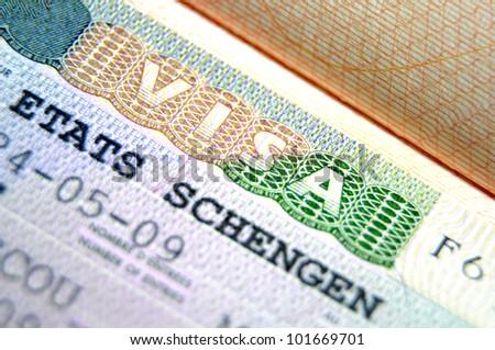 Schengen visa macro - stock photo
