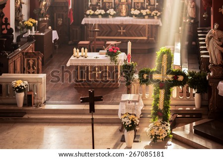 SCHESSLITZ, GERMANY - APRIL 06 2015: Traditional Christian Catholic Church Service on Easter on Easter Monday in the Guegel Chapel near Schesslitz in Bavaria
