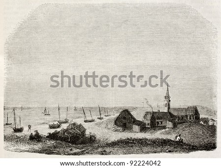 Scheveningen old view, The Netherlands. By unidentified author, published on Magasin Pittoresque, Paris, 1845 - stock photo