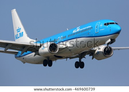 SCHIPHOL, AMSTERDAM, NETHERLANDS - APRIL 3, 2016: Boeing 737-8K2 PH-BXZ of KLM Royal Dutch Airlines landing at Schiphol international airport.
