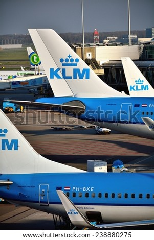 SCHIPHOL, NETHERLANDS - Nobember 21, 2014: KLM or Royal Dutch Airlines in English is the flag carrier airline of the Netherlands.