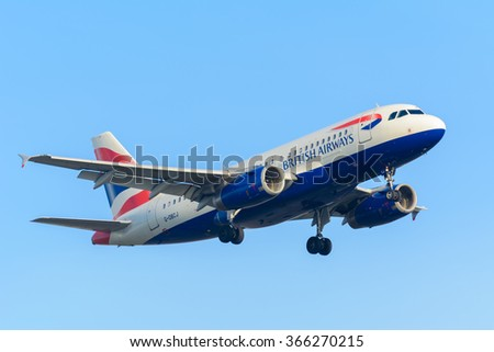 Schiphol, Noord-Holland/Netherlands - January 18-01-2016 - Airplane  British Airways G-DBCJ Airbus A319-100 is landing at Schiphol airport. The plane is flying to the runway. - stock photo