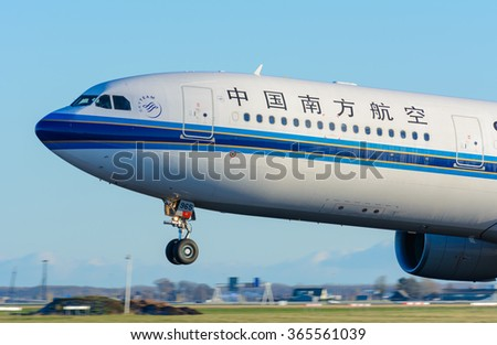 Schiphol, Noord-Holland/Netherlands - January 17-01-2016 - Airplane China Southern Airlines B-5965 Airbus A330-300 is taking off at Schiphol airport. The plane will fly to his final destination. - stock photo