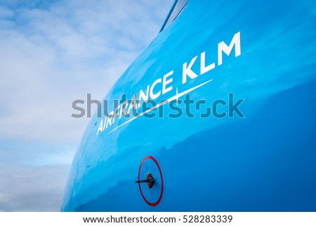 Schiphol, Noord-Holland/Netherlands -November 27-11-2016- Airplane KLM Cityhopper PH-KZU Fokker F70. The Commercial jet aeroplane is waiting to board passengers, when finished the plane we departure.