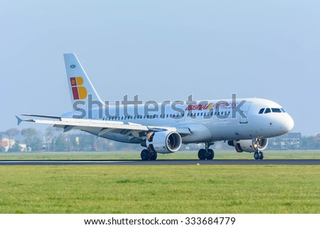 Schiphol, Noord-Holland/Netherlands- September 18-09-2015 -Plane from Iberia Express, S.A. is started landed at Schiphol Airport. Photo taken during daylight, typical aviation background.  - stock photo