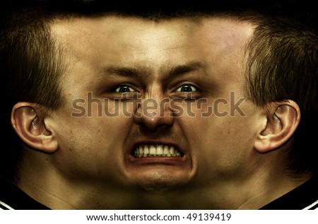 Schizophrenia. Panorama face - stock photo