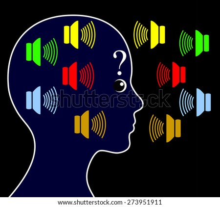 Schizophrenia with Hearing Voices. Schizophrenic person may hear voices other people do not hear and get paranoid - stock photo
