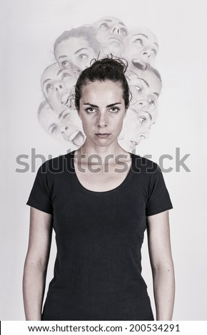 Schizophrenic woman - stock photo