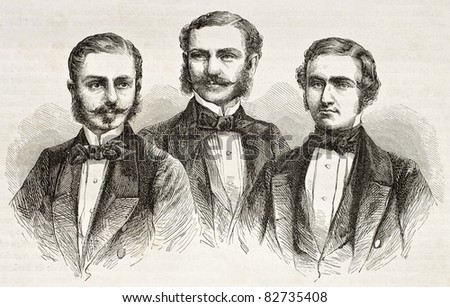 Schlagintweit brothers old engraved portraits. Created by Valentin, published on Le Tour du Monde, Paris, 1860 - stock photo
