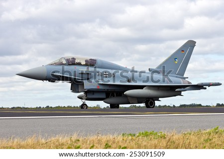 SCHLESWIG-JAGEL,  GERMANY - JUN 23, 2014: German Air Force Eurofighter Typhoon during the NATO Tiger Meet at Schleswig-Jagel airbase. The Tiger Meet is to promote solidarity between NATO air forces - stock photo