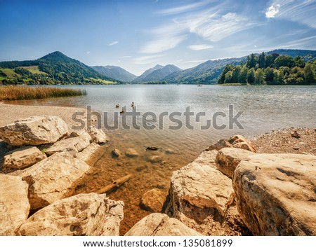 schliersee lake in bavaria - germany - stock photo