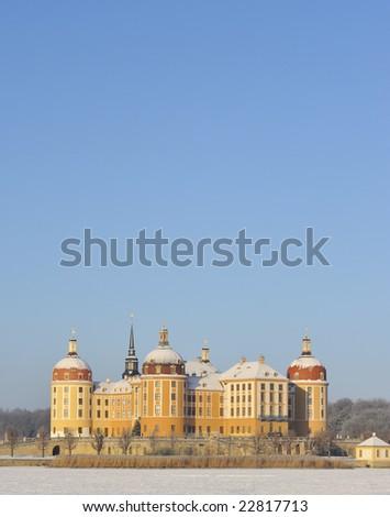 Schloss Moritzburg in winter, Dresden, Germany - stock photo