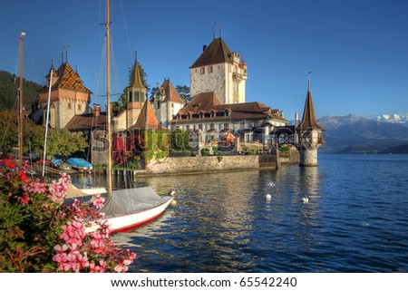 Schloss Oberhofen on the Lake Thun (Thunersee) in Bern Canton of Switzerland