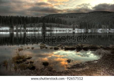 Schluchsee, Black Forest, Germany. Sea Reflection. - stock photo