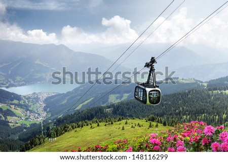 Schmittenhöhe with cable car, Zell am See, Austria - stock photo