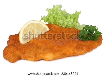 Schnitzel chop cutlet with lemon and lettuce isolated on a white background - stock photo