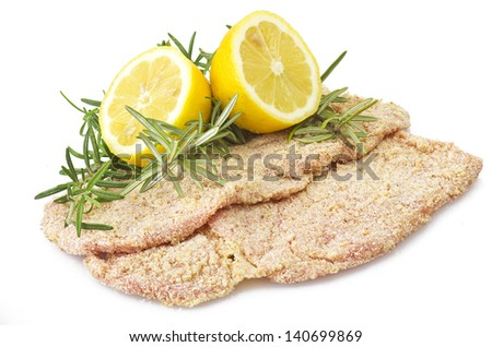 schnitzel of veal close up on the white - stock photo