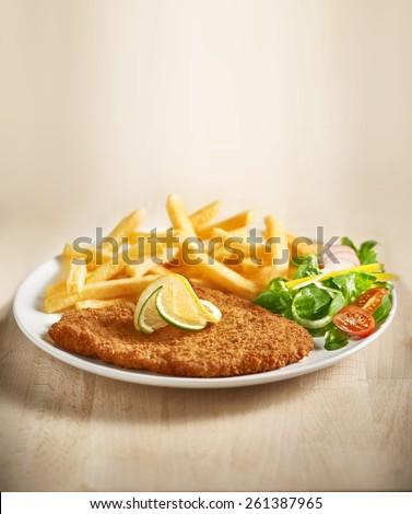 schnitzel with fries - stock photo