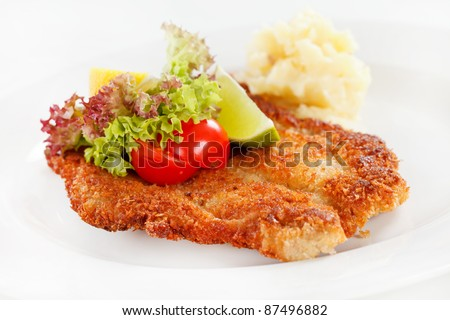 schnitzel with potatoes - stock photo