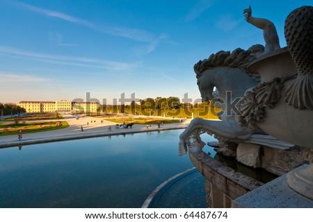 Schoenbrunn castle in Vienna - stock photo